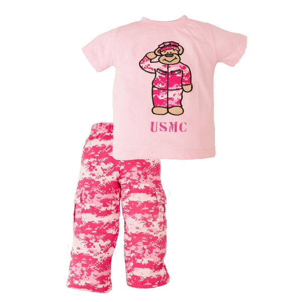 Marine Pink 2pc Toddler Teddy Bear Set-justbabywear