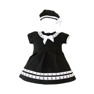 Navy 2pc Anchor Dress w/ Beret-justbabywear