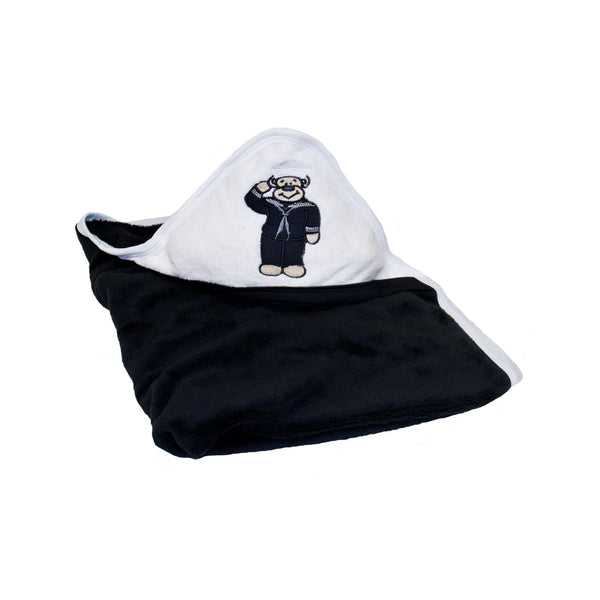 Navy Black and White Fleece Baby Blanket-justbabywear