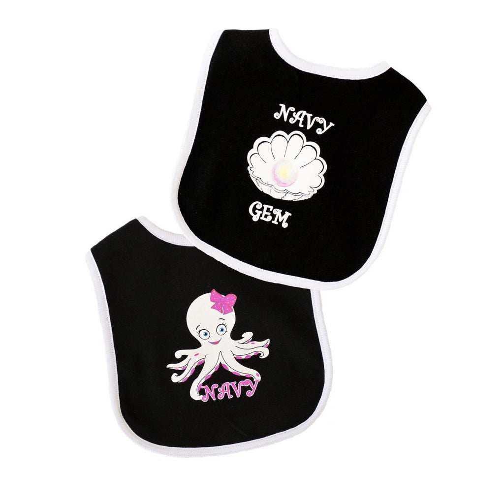 Navy Gem and Octopus Bib 2pk-justbabywear