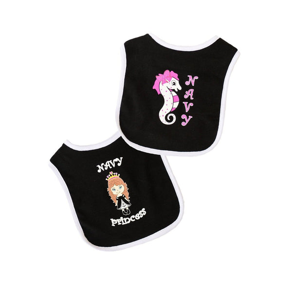 Navy Princess and Seahorse Bib 2pk-justbabywear