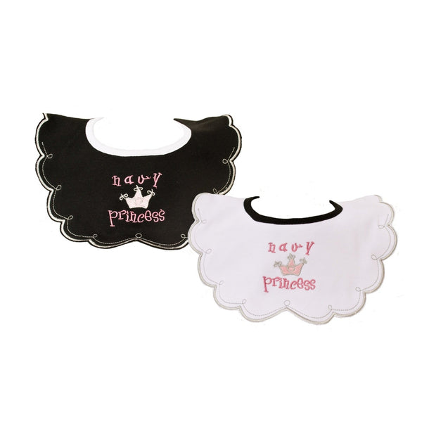 Navy Princess Bibs 2pk-justbabywear