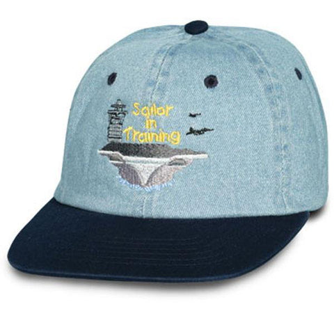 Navy Sailor in Training Kids Navy Bill Ball Cap-justbabywear