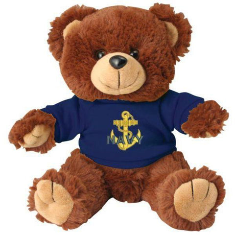 NAVY with Anchor DEMB on Blue T-Shirt on Stuffed Plush Bear-justbabywear