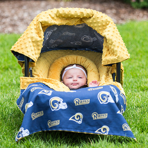 LA Rams - Carseat Canopy 5 Pc Whole Caboodle Baby Infant Car Seat Cover Kit w/ Minky Fabric with Minky Fabric