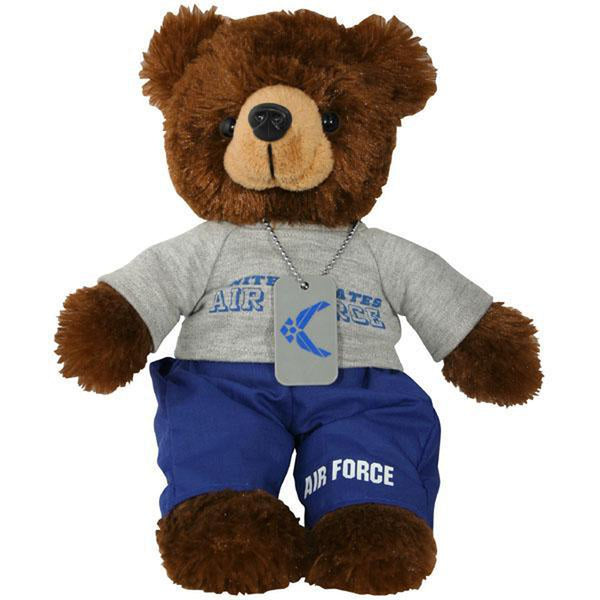 US Air Force Brown Toy Teddy Bear with Dog Tag-justbabywear