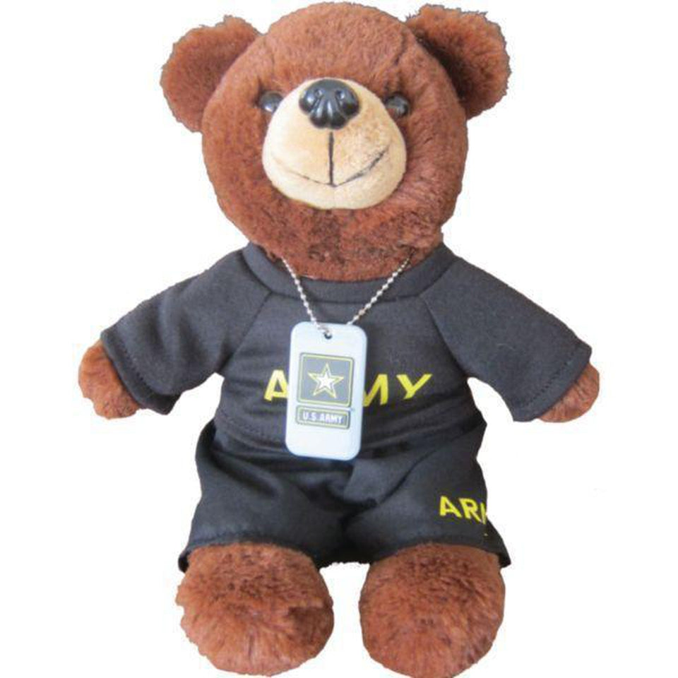 US Army Brown Plush Toy Bear with Dog Tag and Shirt-justbabywear