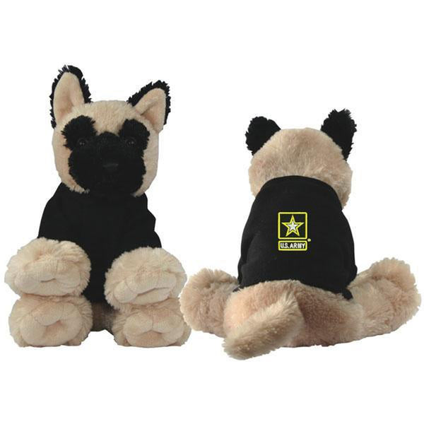 US Army Star Embroidered Black Shirt Plush Toy Dog-justbabywear