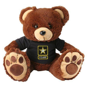 U.S. Army Star Logo Black T-Shirt on Stuffed Plush Big Paw Brown Bear-justbabywear