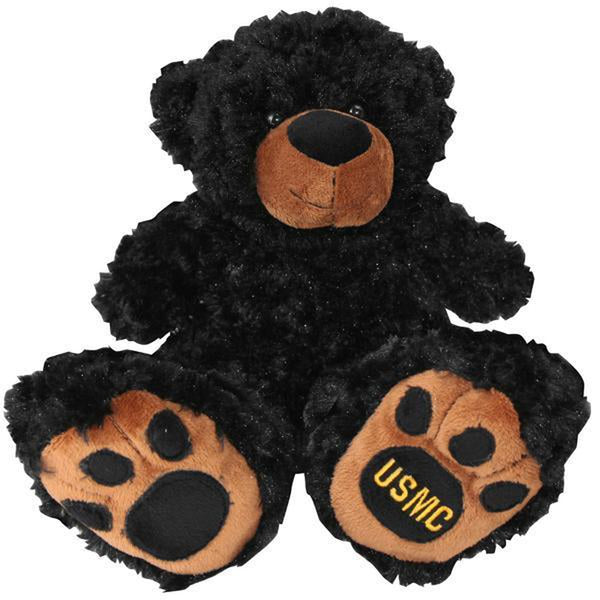 US Marine Black Plush Toy Bear with Big Paw-justbabywear