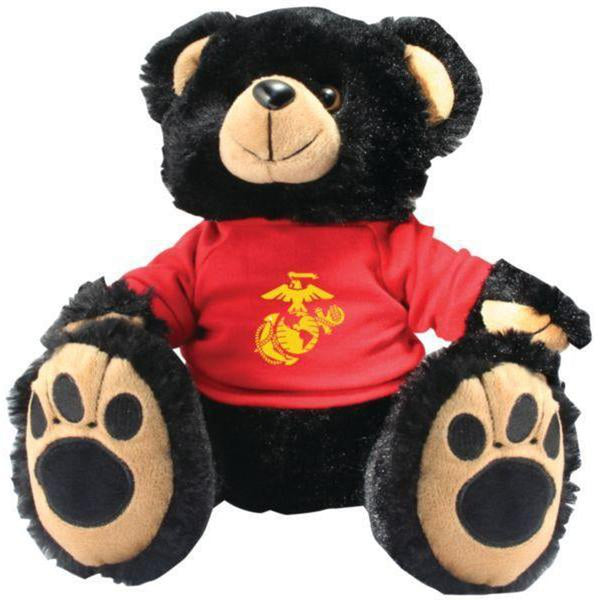 US Marines Black Plush Toy Teddy Bear-justbabywear