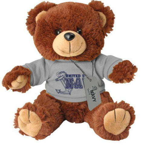 US Navy Stuffed Plush Toy Bear with Dog Tag-justbabywear