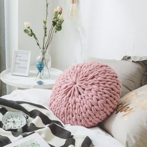 knitted woolen pillow