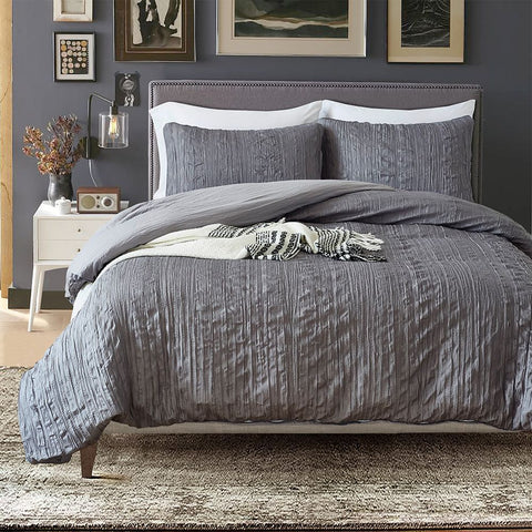 Chic Pintuck Pinch Pleated Ruched Duvet Cover Set