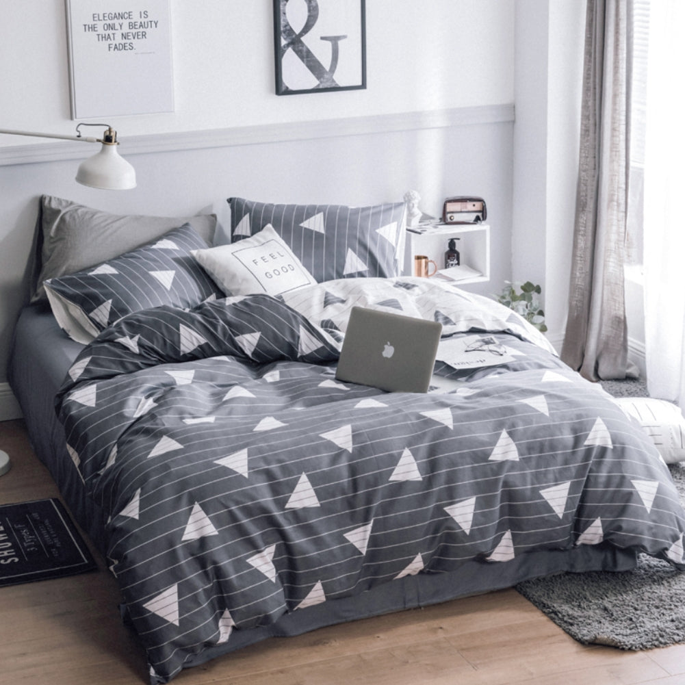 3pcs Cotton Duvet Cover Set Triangle Bedding Set