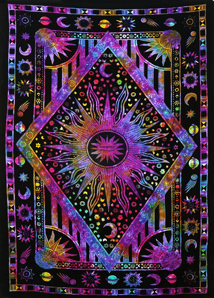 Wall Tapestry  Wall Hanging Twin Blue Tie Dye Purple Burning Sun