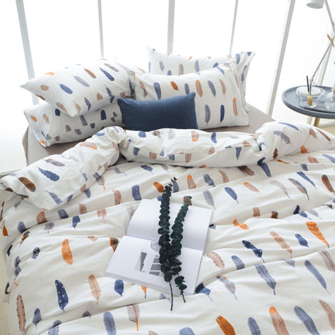 3pcs Feather Cotton Duvet Cover Set Soft Bedding Set