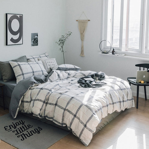 3PCS Cotton Duvet cover set Soft Luxury Plaid Printed Bedding set