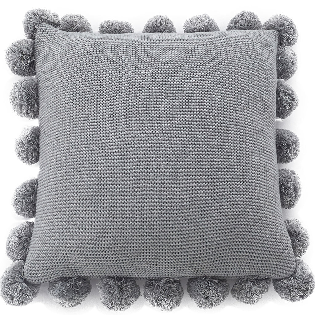 Kintted Pom Pillow with pillow core cushion