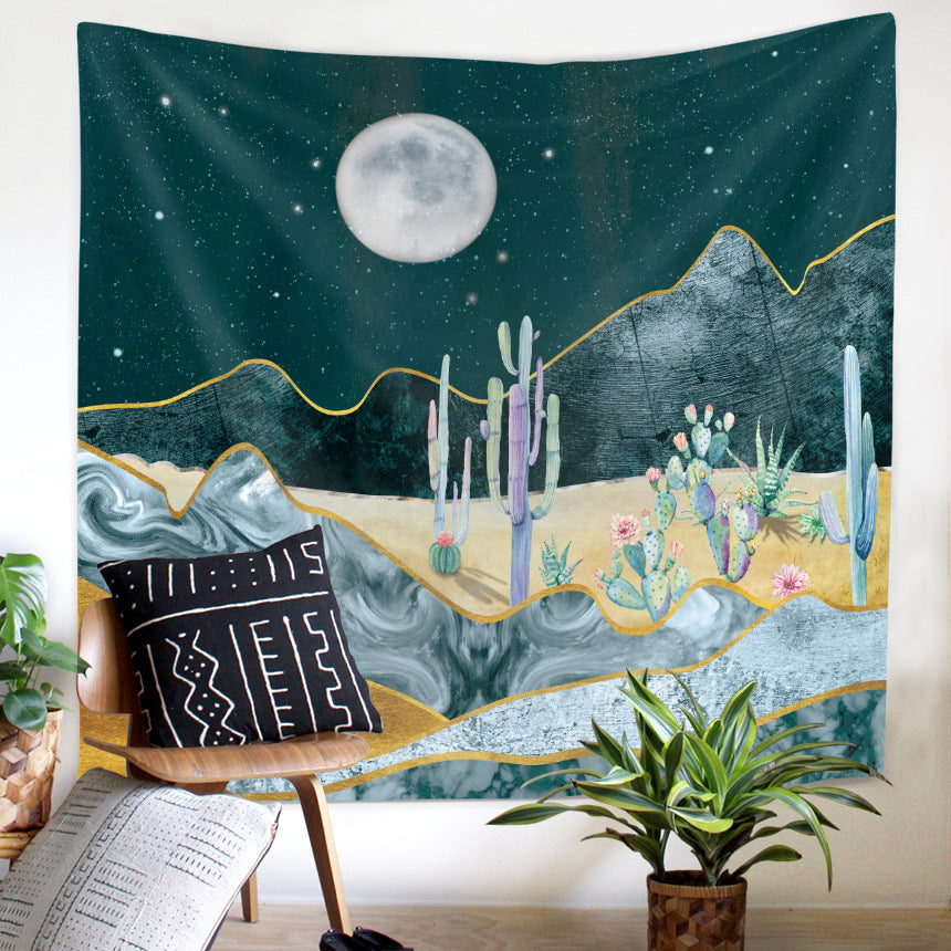 Mountain Tapestry Wall Hanging for Room Cactus Nature Landscape