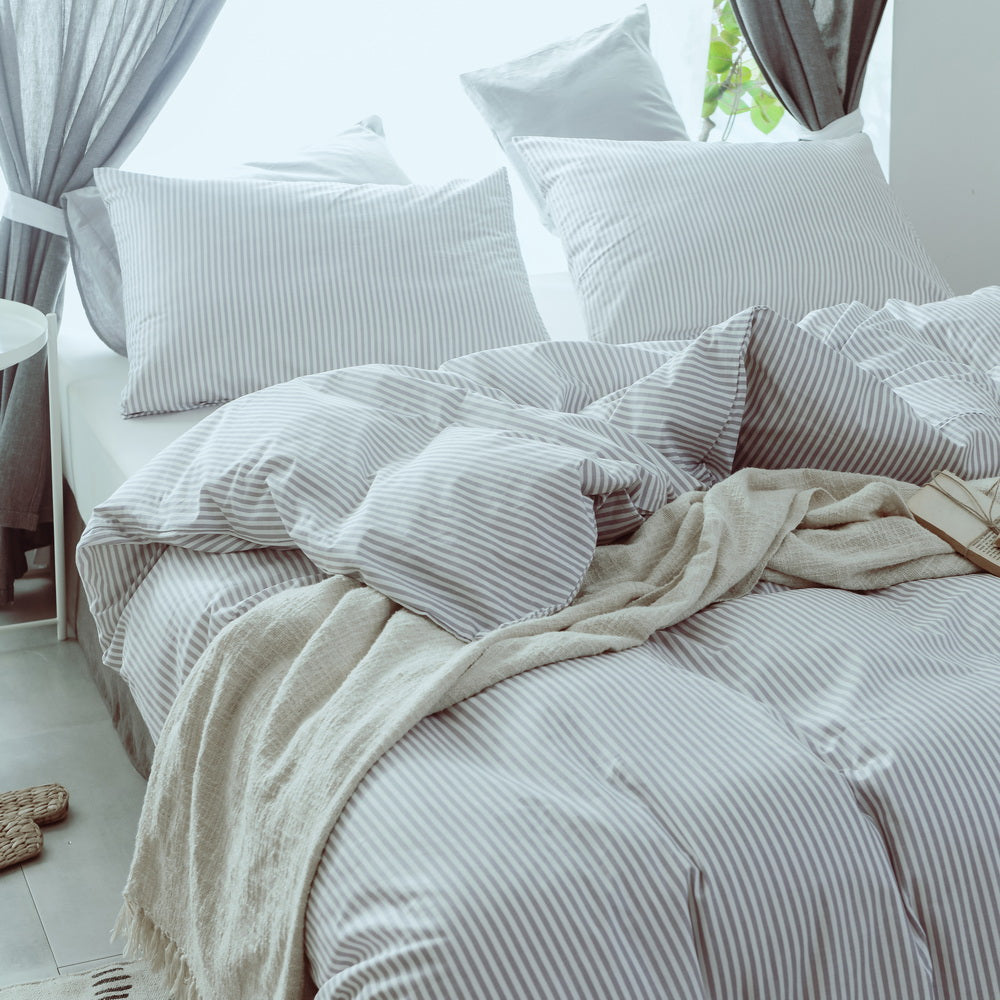 stripe cotton duvet cover set