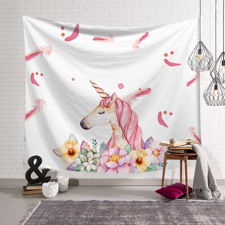 Colorful Unicorn Tapestry Wall Hanging Decoration White