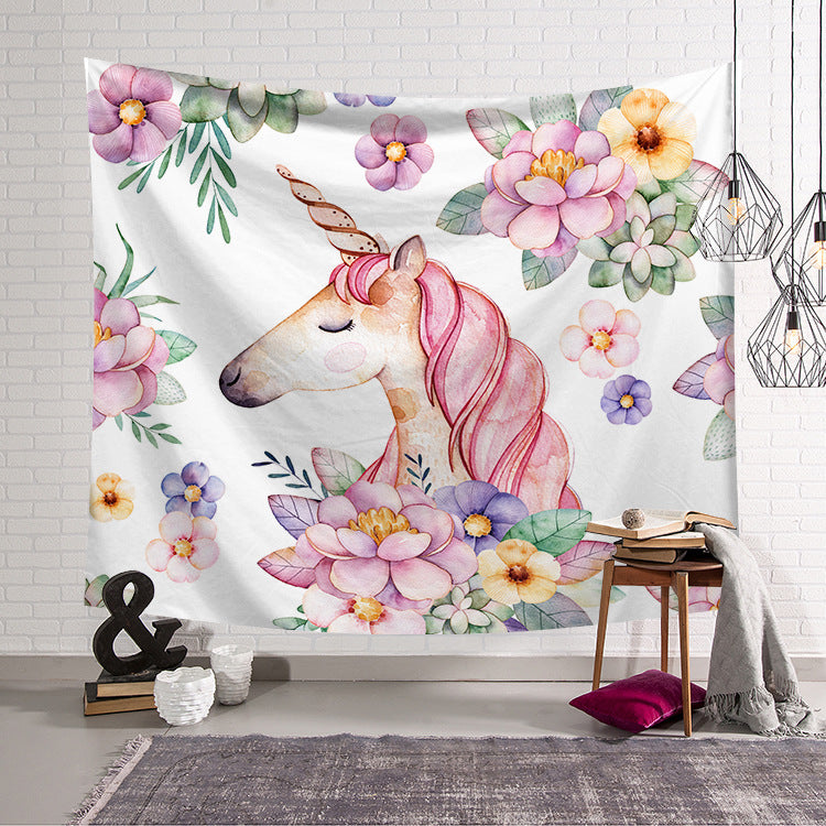 Unicorn Tapestry, Wall Decoration, Colourful Garlands