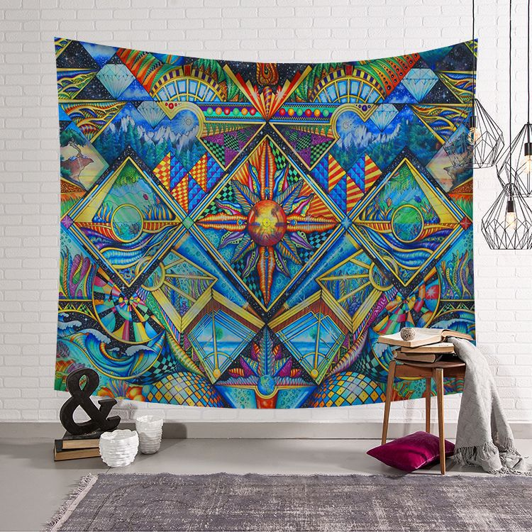 Psychedelic Tapestry with Abstract Color and Form Details Retro Pattern