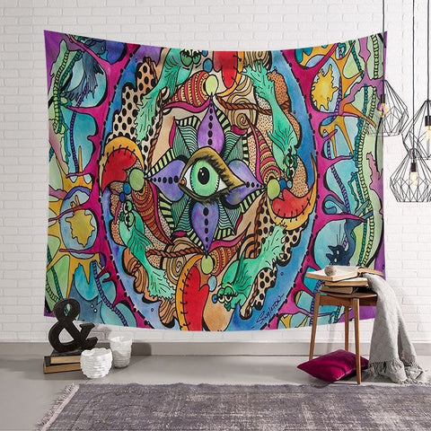 Psychedelic Tapestry with Many Fractal Faces Celestial Energy Mystic Wall Hanging