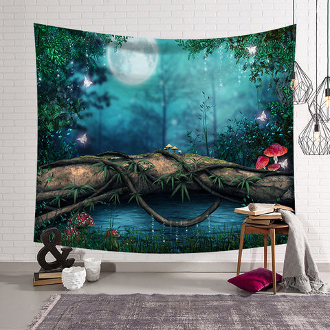 Quiet lakeside night decoration tapestry