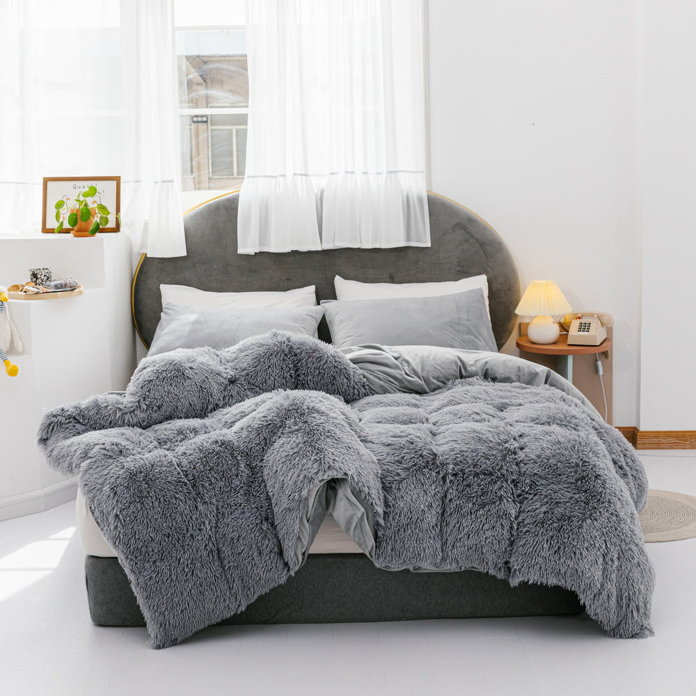 3 Pieces Fur Bedding Set, Shaggy Fluffy Duvet Cover, Velvet Ultra-Soft Microfiber, Solid Color, Grey