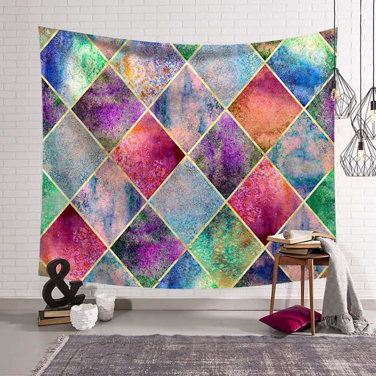 3D Paint Rhombic Tapestry Wall Hanging Home Decorations