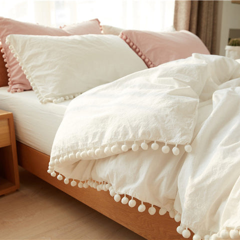 Bedding Duvet Cover Set Ball Pom Fringe Bedding Pillowcase Sets