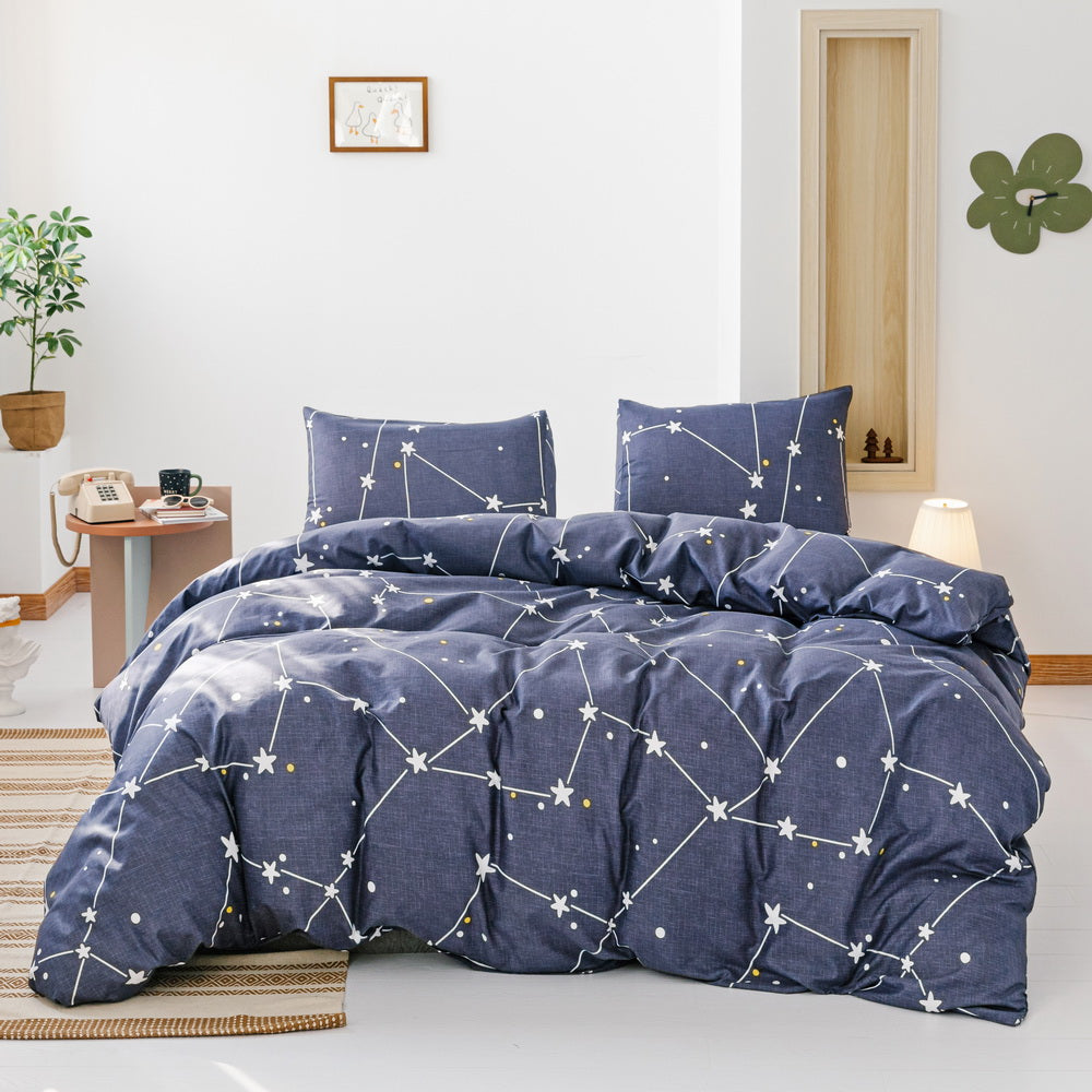 3 PCS Comforter Polaris Pattern Printed Bed Comforter Microfiber Soft Breathable Bedding (1 Comforter, 2 Pillow Shams)