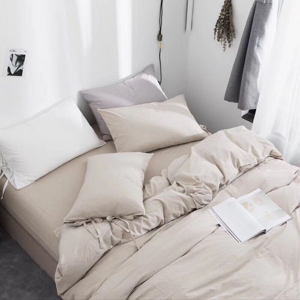 3 Piece 100% Washed Cotton Pure Colour  Duvet Cover Set