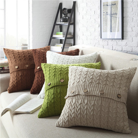 Cotton twist knitted pillowcase without pillow core