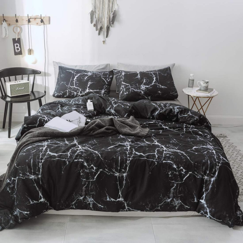 Smoofy 100% Cotton Duvet Cover Black Marble Sytle