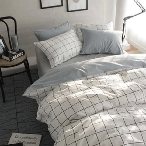 3 pieces duvet cover set grid