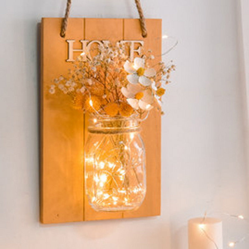 Rustic Mason Jar Sconces for Home Decor, Decorative Flower Wall Decor with LED Strip Lights for House Decoration