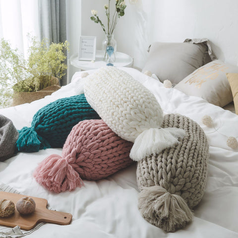Handmade knitted colorful candy shape woolen pillow