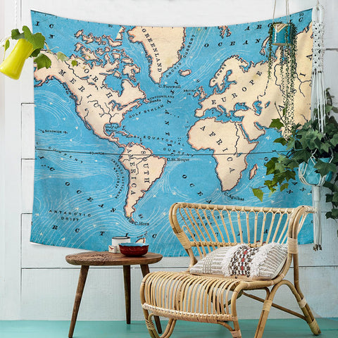 Map Tapestry  Wall tapestry Educational Retro Art Tapestry