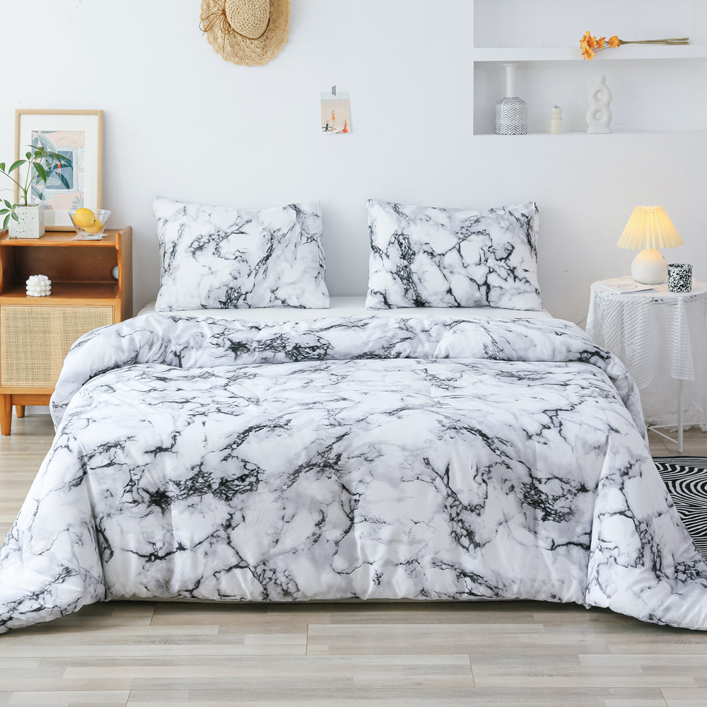 3 PCS Comforter White Marble Pattern Printed Bed Comforter Microfiber Soft Breathable Bedding (1 Comforter, 2 Pillow Shams)
