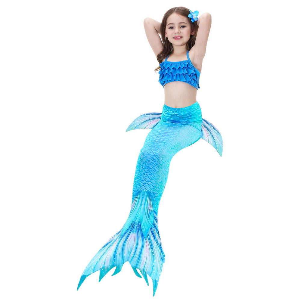 3PCS Mermaid Tail for Children Girls Swimsuit Swimming Pool Party Swimsuit