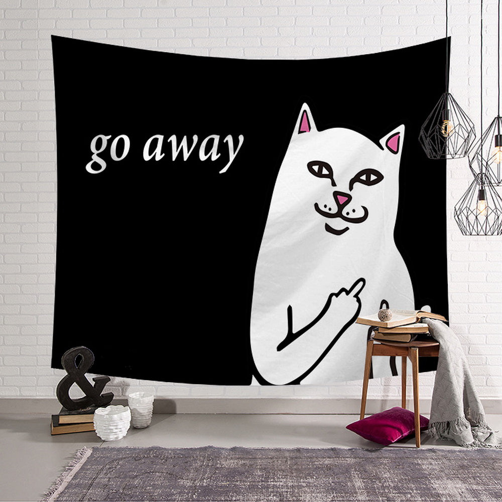 "Cat with Middle Finger ""Go Away"" Wall Hanging Tapestries Living Room Decor"