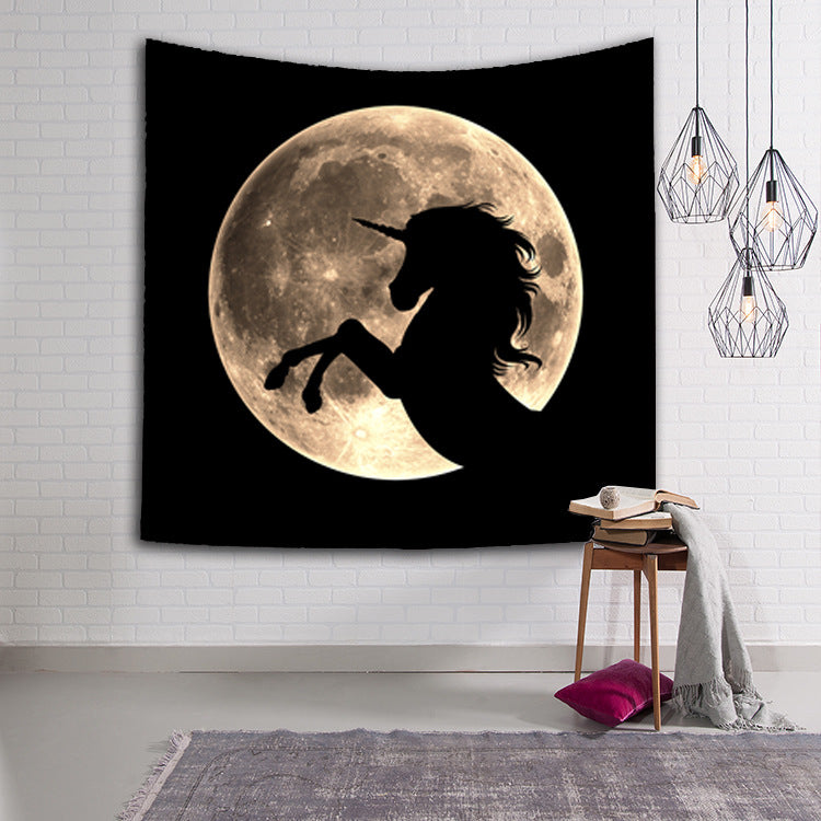 Tapestry Wall Hanging Blanket Moonlight Horse Carpet for Home Bedroom Dorm