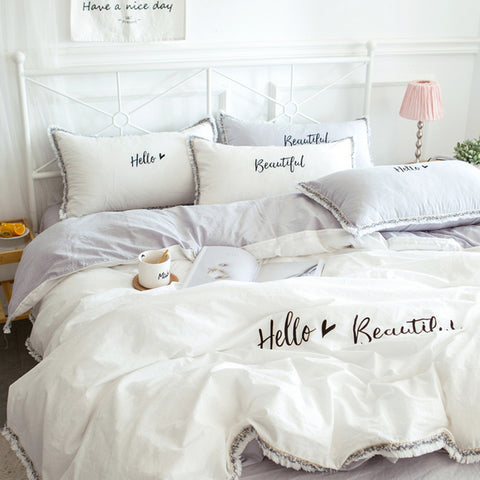 3 pieces 100% cotton letter printed duvet cover sets