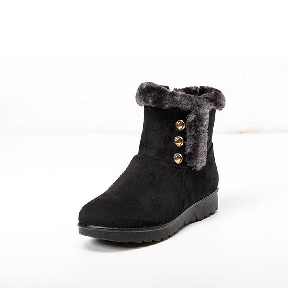 Metal buckle decorative cotton shoes flat snow boots