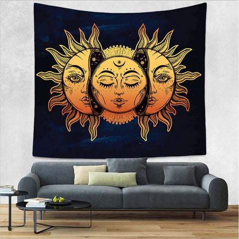 Wall Tapestry  Sun and Moon Psychedelic Tapestry Wall Hanging
