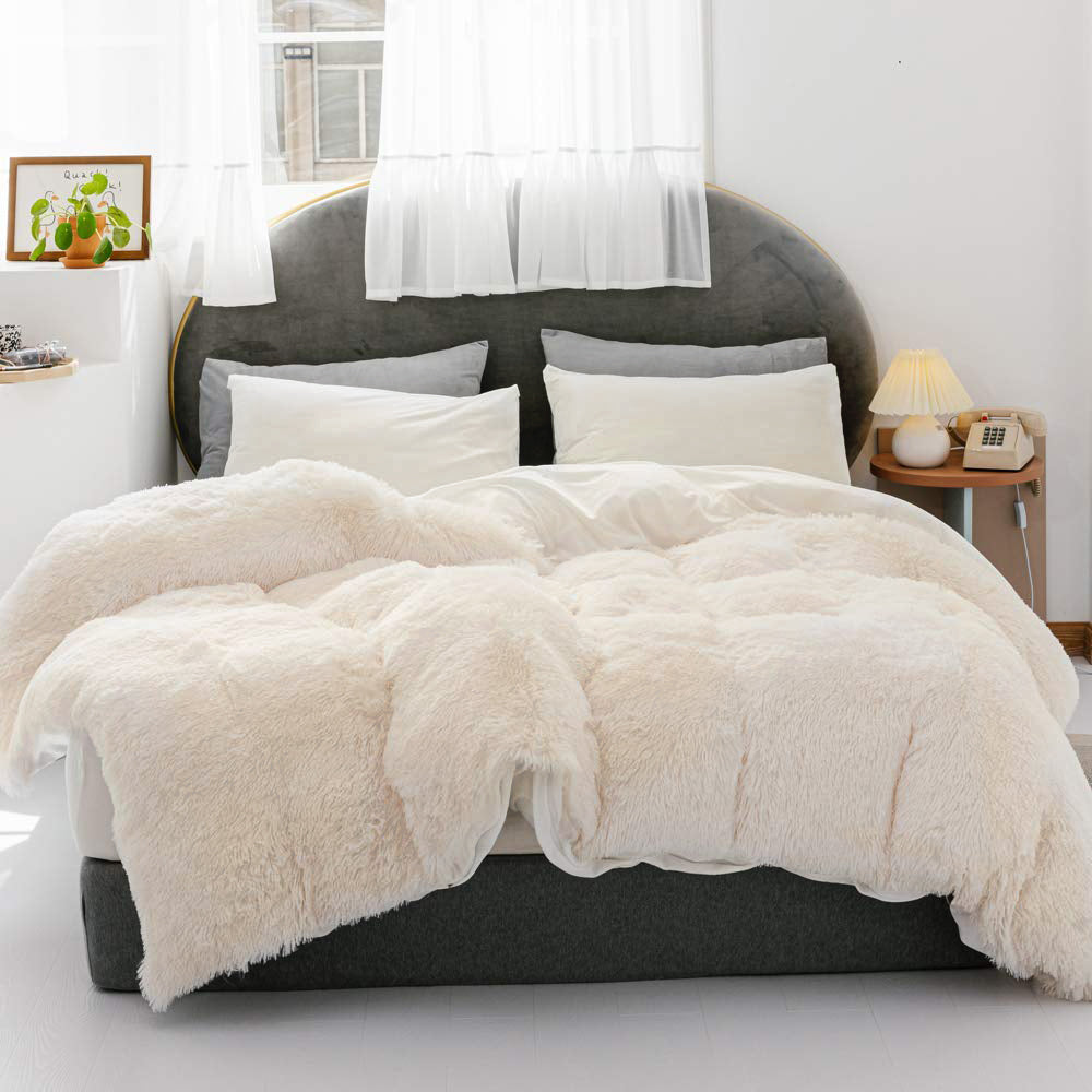3 Pieces Fur Bedding Set, Shaggy Fluffy Duvet Cover, Velvet Ultra-Soft Microfiber, White
