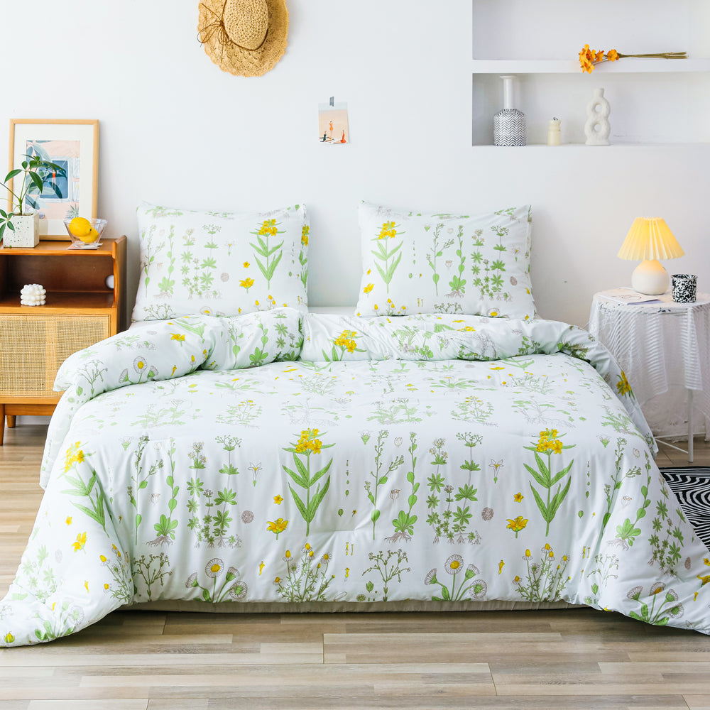 3 PCS Comforter Flower Pattern Printed Bed Comforter Microfiber Soft Breathable Bedding (1 Comforter, 2 Pillow Shams)